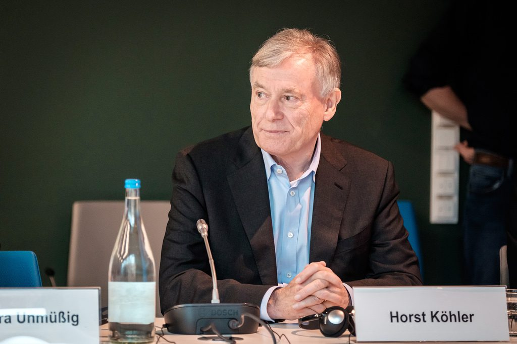 "Horst Köhler at an event held by the Heinrich Böll Foundation, Berlin, February 2016 (courtesy of Andi Weiland, Heinrich Böll Foundation, creative commons license, ""share alike"" 2.0 Generic (CC BY-SA 2.0), http://creativecommons.org/licences/by-sa/2.0/deed.de)."