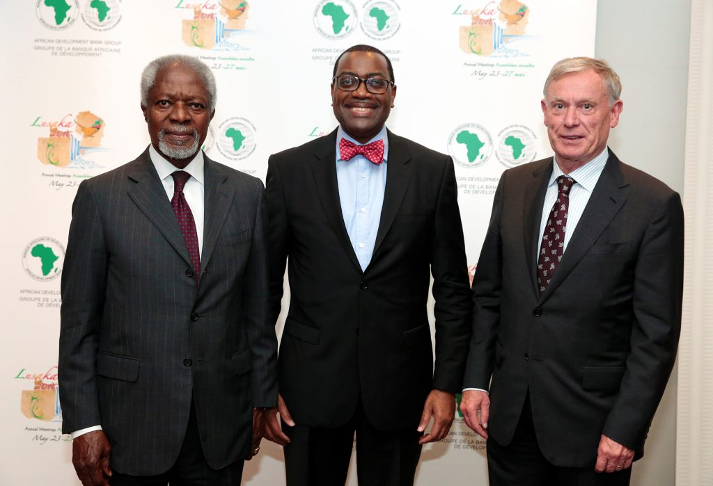 Former Secretary-General of the United Nations Kofi Annan, former Federal President Horst Köhler, and  President of the African Development Bank (AfDB) Akinwumi Adesina (courtesy of the AfDB).