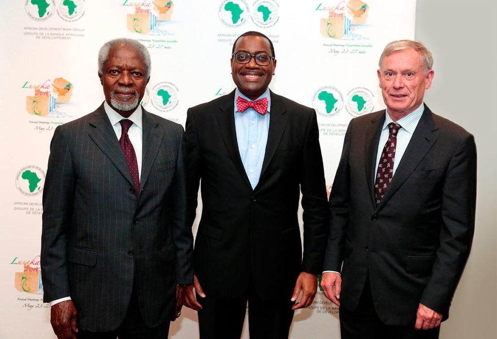 Der ehem. Generalsekretär der Vereinten Nationen Kofi Annan, Bundespräsident a.D. Horst Köhler und der Präsident der Afrikanischen Entwicklungsbank Akinwumi Adesina (Quelle: AfDB).